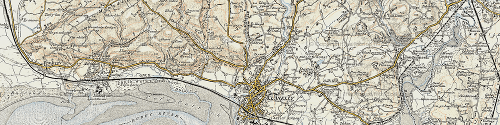 Old map of Pentre-Poeth in 1900-1901