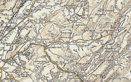 Old map of Afon Gwydderig in 1900-1902