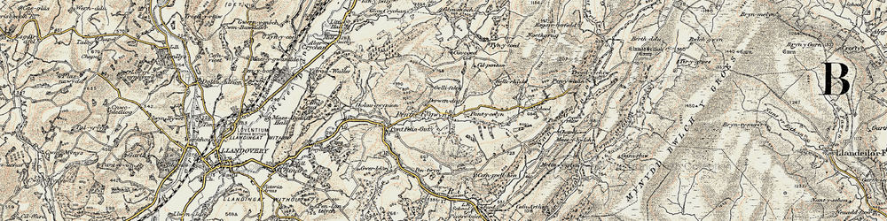 Old map of Abercrychan in 1900-1902