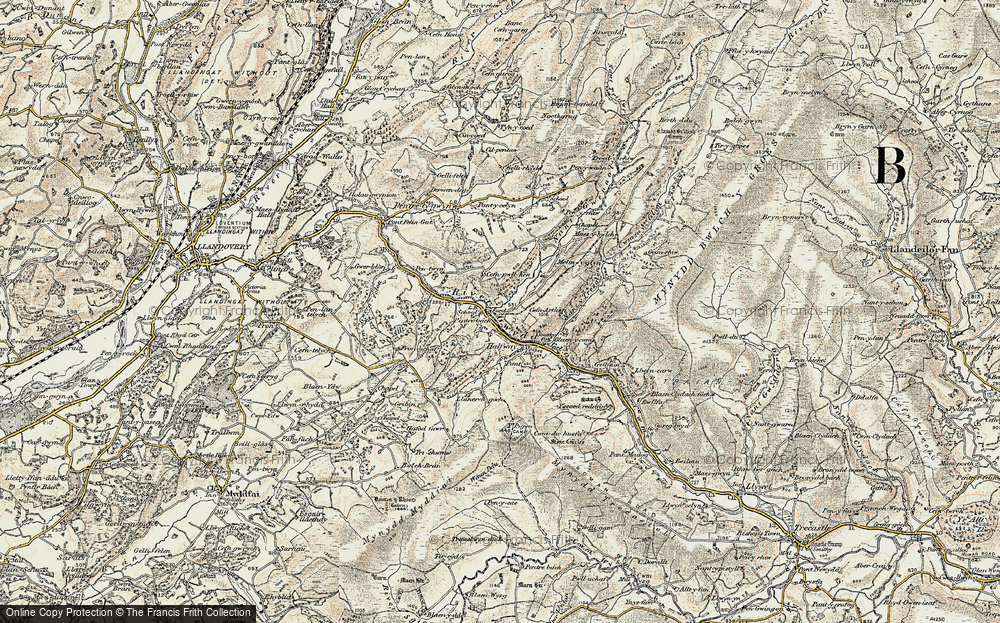 Old Map of Historic Map covering Allt y Ferdre in 1900-1901