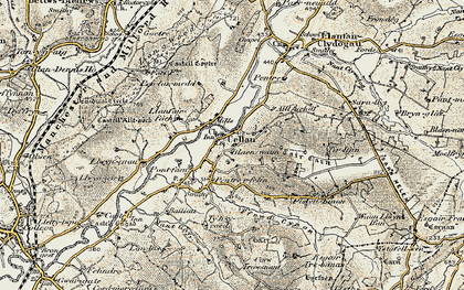 Old map of Pentrefelin in 1901-1902