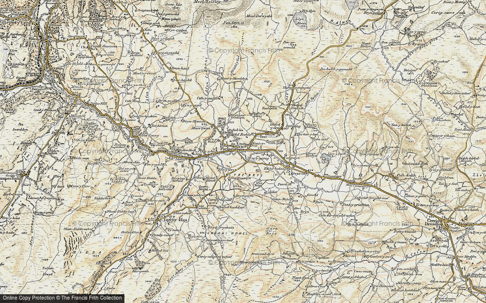 Old Map of Historic Map covering Afon Twllan in 1902-1903
