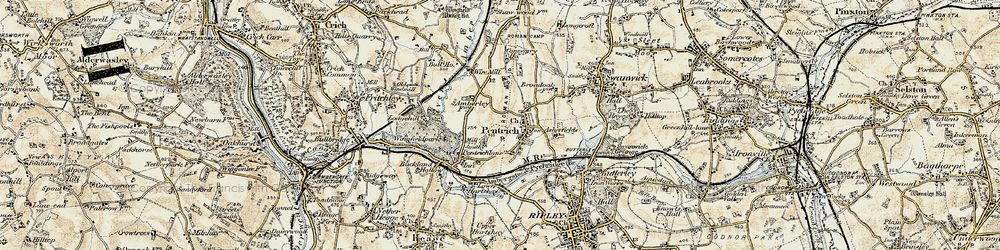 Old map of Pentrich in 1902