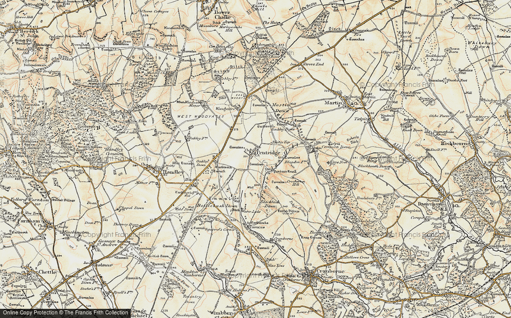 Old Map of Historic Map covering Ackling Dyke (Roman Road) in 1897-1909