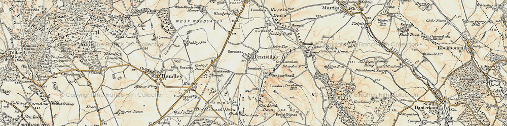 Old map of Ackling Dyke (Roman Road) in 1897-1909
