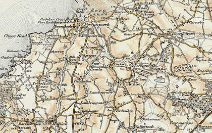Old map of Penwartha Coombe in 1900