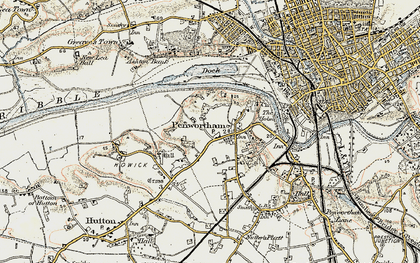 Old map of Penwortham in 1903