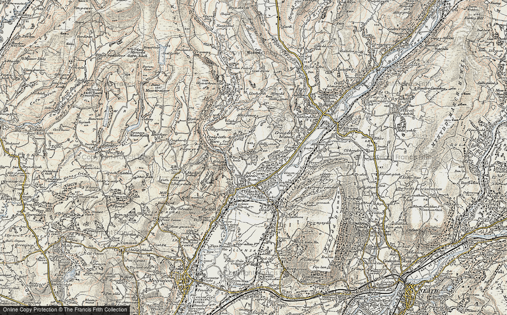 Old Map of Historic Map covering Allt-y-fanog in 1900-1901