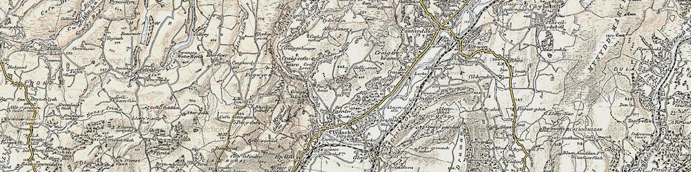 Old map of Allt-y-fanog in 1900-1901