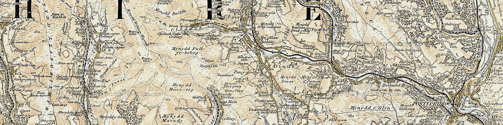 Old map of Penygraig in 1899-1900