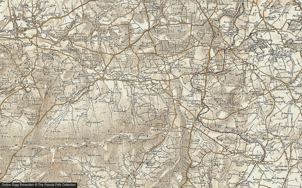 Old Map of Historic Map covering Afon Clun-maen in 1901