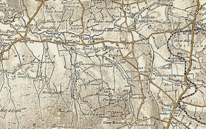 Old map of Afon Clun-maen in 1901
