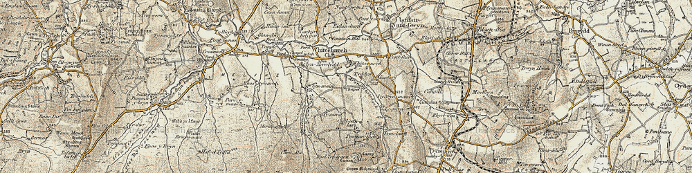 Old map of Afon Bannon in 1901