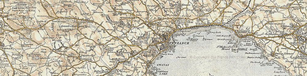 Old map of Penzance in 1900