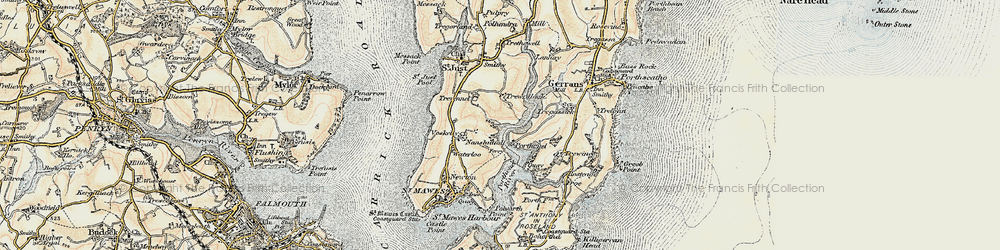 Old map of Percuil in 1900