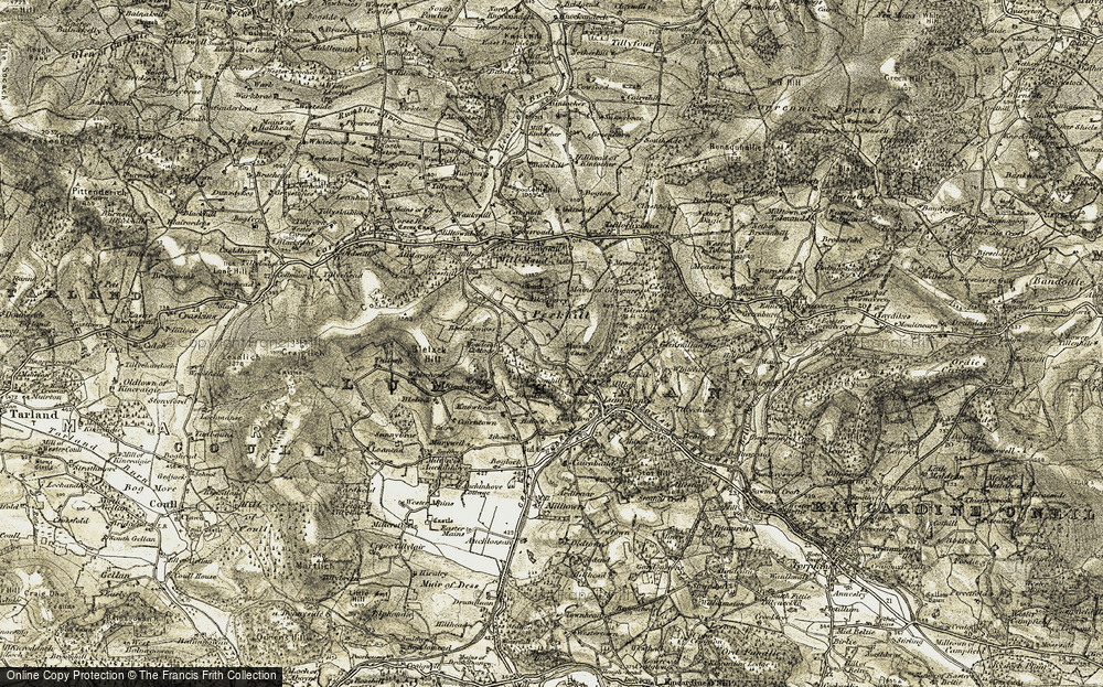 Old Map of Historic Map covering Lingamend in 1908-1909