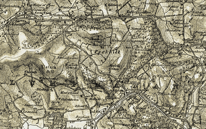 Old map of Bankhead in 1908-1909