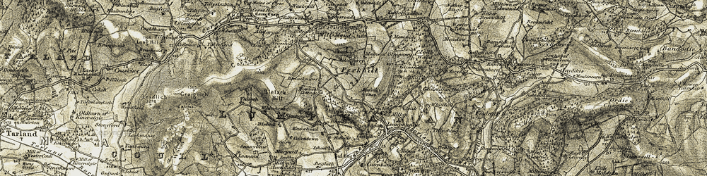 Old map of Whitehouse in 1908-1909