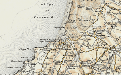 Old map of Perranporth in 1900
