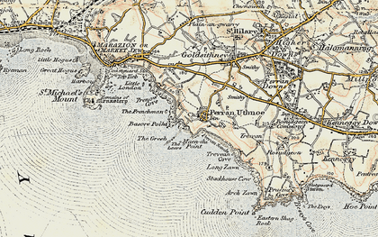 Old map of Perranuthnoe in 1900