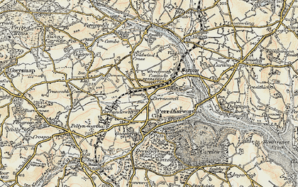 Old map of Perranwell in 1900