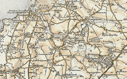 Old map of Perranzabuloe in 1900