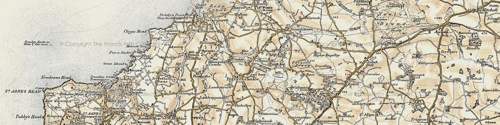 Old map of Perranzabuloe in 1900