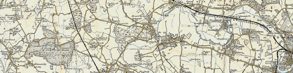 Old map of Pershore in 1899-1901