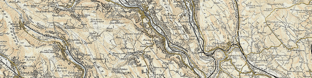 Old map of Perthcelyn in 1899-1900
