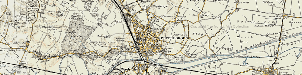 Old map of Peterborough in 1901-1902