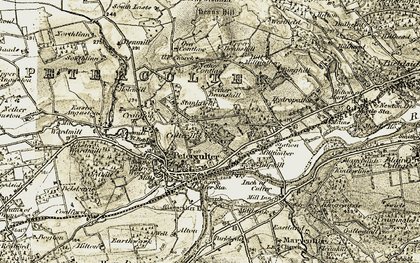 Old map of Linn Moor Home in 1908-1909