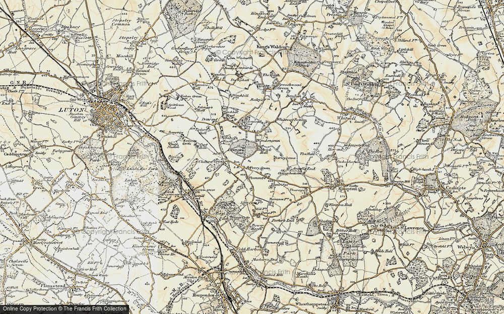 Old Map of Historic Map covering Whiteway Bottom in 1898-1899