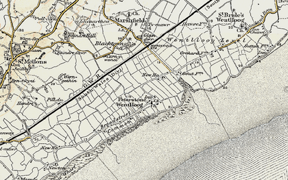 Old map of Peterstone Wentlooge in 1899-1900
