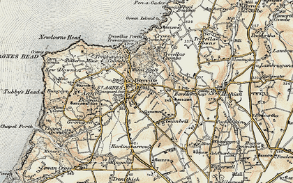 Old map of Peterville in 1900