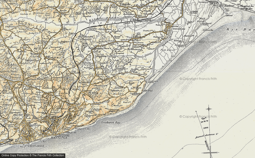 Old Map of Pett, 1898 in 1898