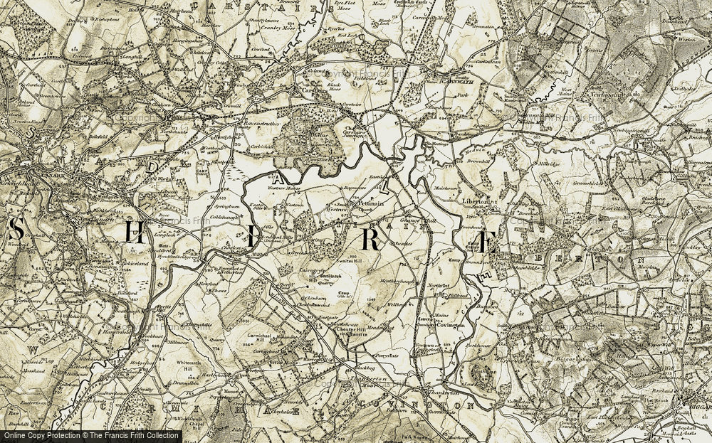 Old Map of Historic Map covering Bagmoors in 1904-1905