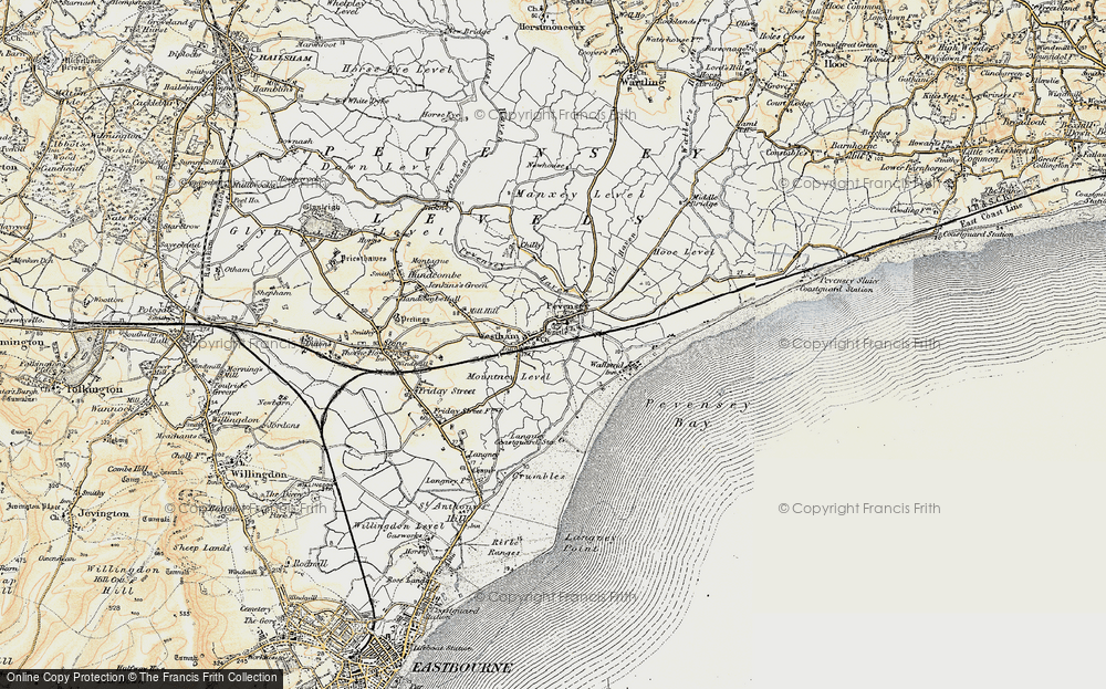 Old Map of Pevensey, 1898 in 1898