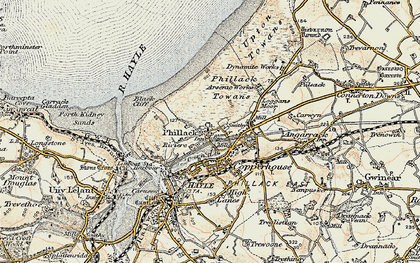 Old map of Phillack in 1900