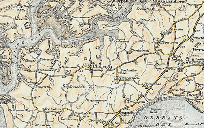 Old map of Ardevora Veor in 1900