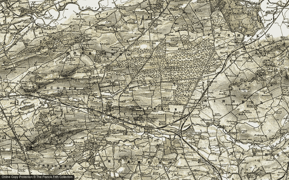 Old Map of Historic Map covering Langlands in 1907-1908