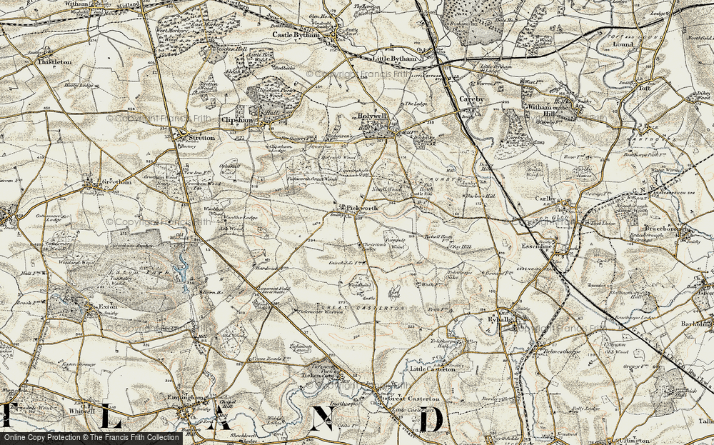 Old Map of Historic Map covering Lincolnshire Gate in 1901-1903
