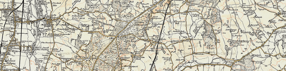 Old map of Ambresbury Banks in 1897-1898