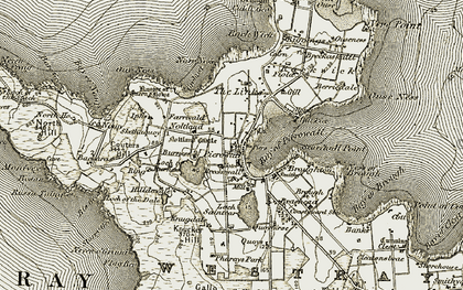 Old map of Bare Geo in 1912