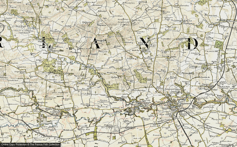 Old Map of Historic Map covering Abshields in 1901-1903