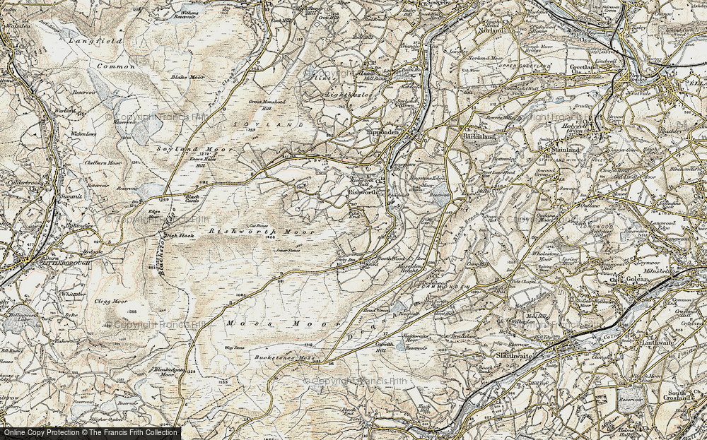 Old Map of Historic Map covering Baitings Resr in 1903