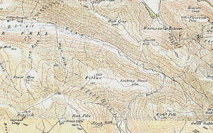Old map of Lingmell in 1903-1904