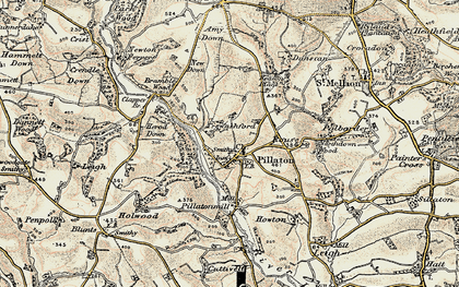 Old map of Pillaton in 1899-1900