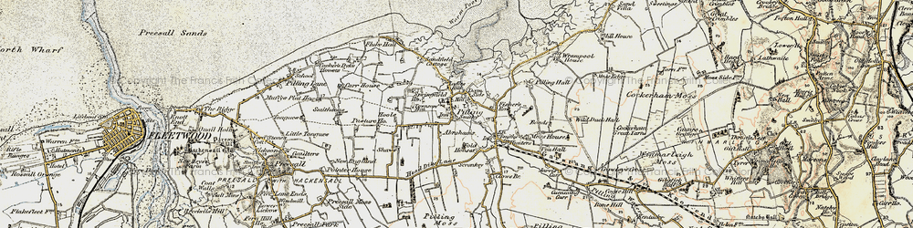 Old map of Lane Ends Amenity Area in 1903-1904