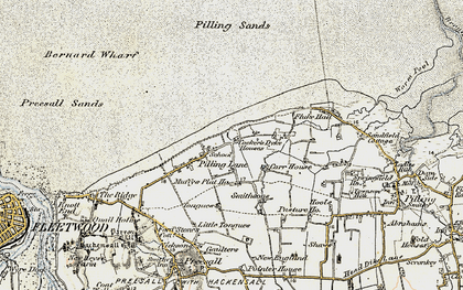 Old map of Wyre-Lune Wildfowl Sanctuary in 1903-1904