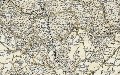 Old map of Pillowell in 1899-1900